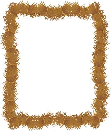Groepen losse hooi of stro, opgestapeld om een ??frame te vormen, voor vele toepassingen .... Vector Illustratie