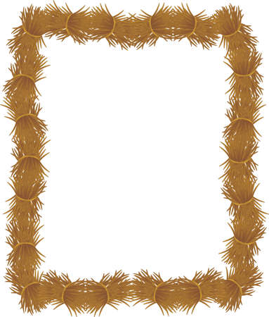 Groups of loose hay or straw, piled to form a frame, for many usages.... Stock Vector - 4558389