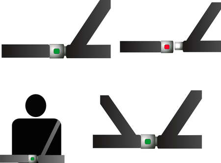 Seat belts with sensors...  also, seatbealt harness.. illustrations Vector