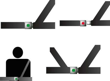 Veiligheidsgordels met sensoren ... Ook seatbealt tuigmakerswerk .. illustraties