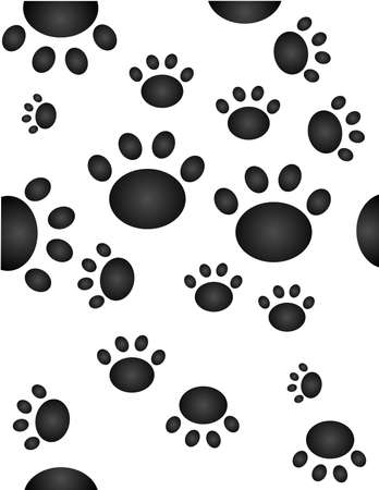 Paw prints, going all over the place... in a seamless wallpaper... Vector