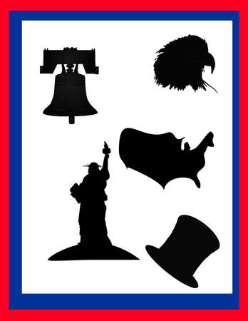 Silhouettes of popular things in the United States of America... Иллюстрация