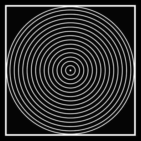 En blanco y negro, cuadrado en un círculo hasta un punto .. la ilusión óptica, la creación de las apariciones en las mentes .. simple y complejo ... Fondo de pantalla .. Ilustración de vector