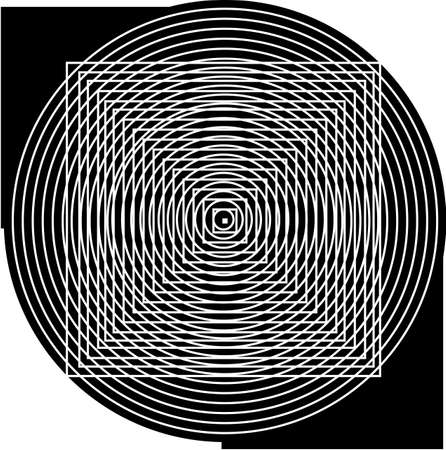 黒と白の正方形と円.光の図.