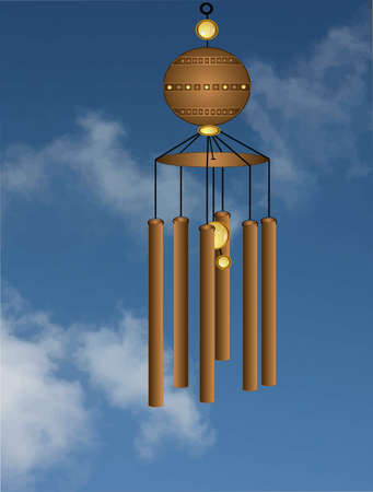 chimes: Wind chimes flowing in a gentle breeze illustration Illustration