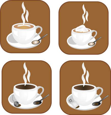 chocolat chaud: caf�, th� et chocolat chaud, des ic�nes, des pr�ts pour de nombreux usages .. et pour tous les types de boissons chaudes .. Illustration