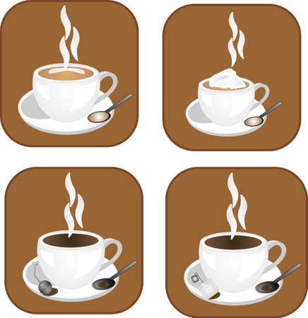 cup and saucer: coffee, tea and hot chocolate icons, ready for many usages.. and for all types of hot drinks..