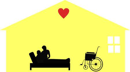 dignit�: � domicile par amour pour les travailleurs de la maison de soins palliatifs et de situations .. Prendre soin des personnes � leur domicile avec respect et dignit�. Illustration