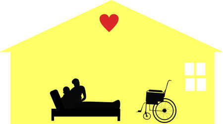 Homecare given by loving care workers for the housebound and hospice situations.. Caring for people in their homes with respect and dignity. Illustration