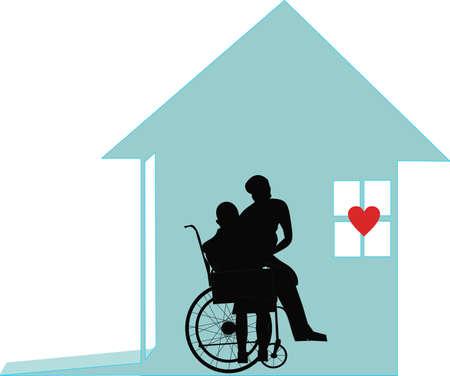 Thuiszorg werknemers te helpen die in hun eigen huis illustratie