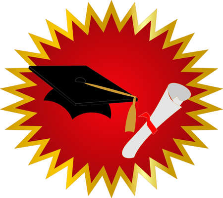 Seal of approval on your Graduation, with cap and diploma Vector