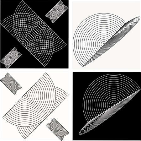 ecliptic: Black and white squares and circles.. optical illustration.. Illustration