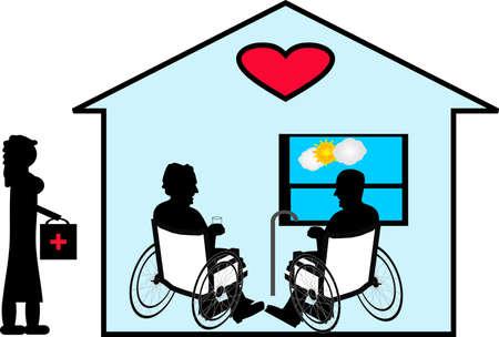Delen hun liefde voor vele jaren met Home Care in hun huis...  Stock Illustratie