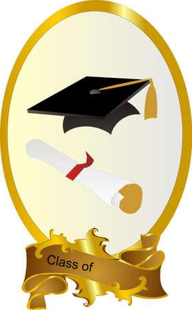 Clase de marco graduado con junta de mortero y diploma, con capacidad para insertar texto o cambiar. Ilustración de vector