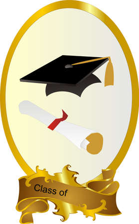graduating: Class of  Graduating frame with mortar board and diploma, with ability to insert text or change.. Illustration