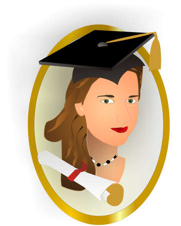 scholars: Female class graduates portrait Illustration