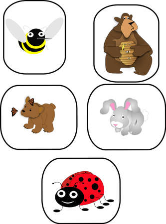 Childrens animal icons, cute and cuddly and fun to look at..  for icons, cards, signs and so on...
