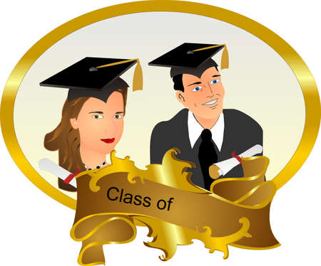 Class of ... Graduating frame with a man and a lady, with their mortar boards and diplomas, with ability to insert text or change.. Vector