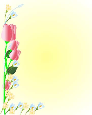 標識、メモ、背景などの美しい花のイラスト。チューリップ、クロッカスと.