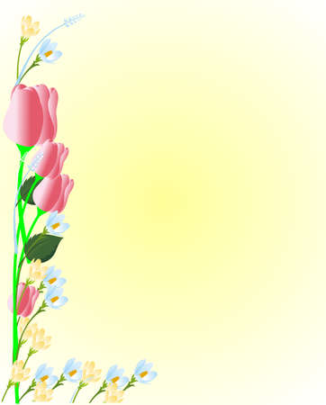 Beautiful floral illustration for signs, memos, backgrounds and more.  With tulips, and crocuses and more...