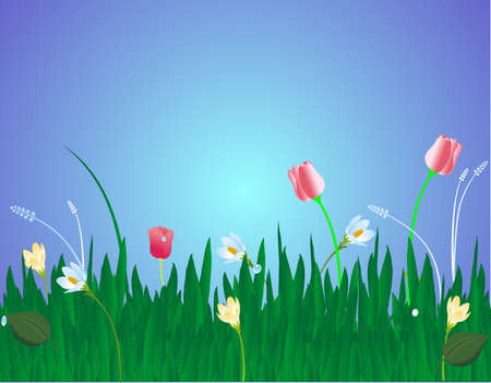 letting: Tulips, crocuses, and grass swaying nicely in a breeze . Letting us know, spring is here..