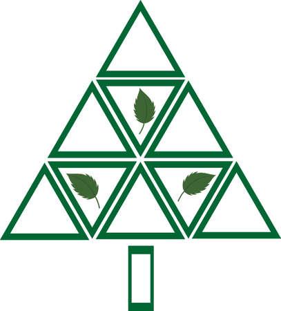 spruce: M�ltiples tri�ngulos formando un �rbol abstracto. Planta un �rbol, un medio ambiente m�s limpio podr�s ver, como los �rboles limpian el aire que nos rodea .. Vectores
