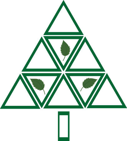 leaf logo: Multiple triangles forming an abstract tree. Plant a tree, a cleaner environment you will see, as trees clean the air around us..  Illustration
