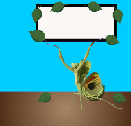 mantis: Praying mantis holding up a sign for your text...