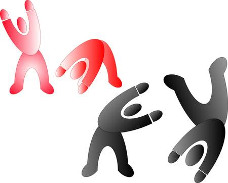 4 pictogram people shaking, dancing, jumping, and playing around Vector
