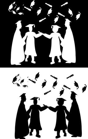 Silhouettes of graduates, chatting and the hat toss.. celebration. two pictures and one  inverted Illusztráció
