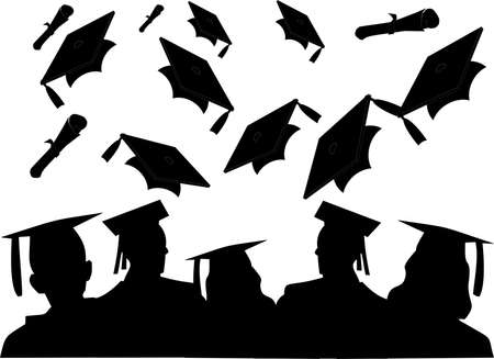 The cheer of the graduating class, as they toss their hats Stock Vector - 4747191