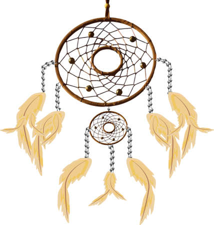 indigenous: Illustration of a Dreamcatcher blowing in a gentle breeze.