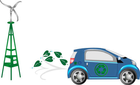 electric cell: Hydrogen or electric car, emitting water or clean air, driving to make the world a better place for all...  with wind power supply. Illustration