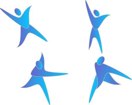 Vier mensen pictogram schudden, dansen, springen en spelen rond Stock Illustratie