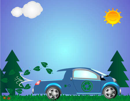 A cleaner and greener earth, with the environmental vehicles taking us forward.. Illustration
