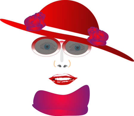 red rose: The Red Hat lady illustration, over white, in her elements..