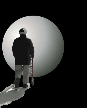 moon walker: Man walking with his walker into the darkness with the moon lighting his way...