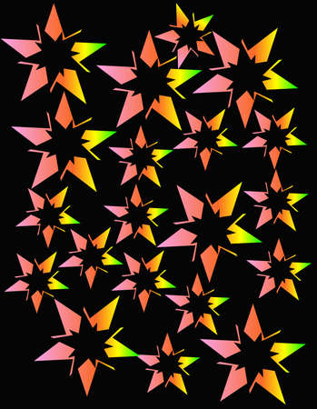 Neon colored stars exploding in an abstract design for a nice background..