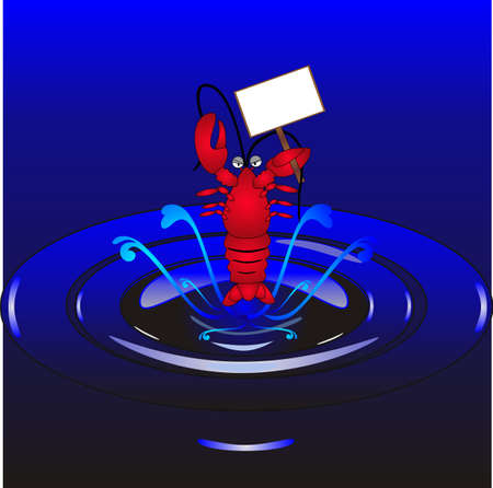 Lobster jumping out of water, illustration, holding a sign for your text, for example : Eat snails not Lobsters!
