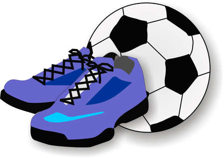running shoes: Pair of running shoes and a soccer or football, in the background.  Great for all sports.. Illustration