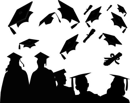 Graduates at commencement, with the customary mortarboard toss and chat.. Stock Vector - 4822011