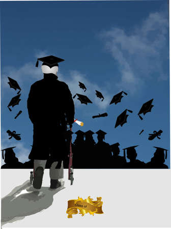 The Validictorian speech is given by an elderly graduate and they do the mortatboard hat toss in celebration of Graduation... Stock Vector - 4822017