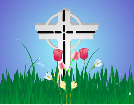 condolence: Cross decorated with flowers in celebration of life and more... Illustration