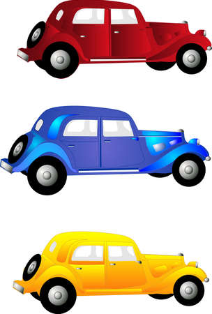 4 door: three old vintage cars in red, blue, and yellow for clip art and more..