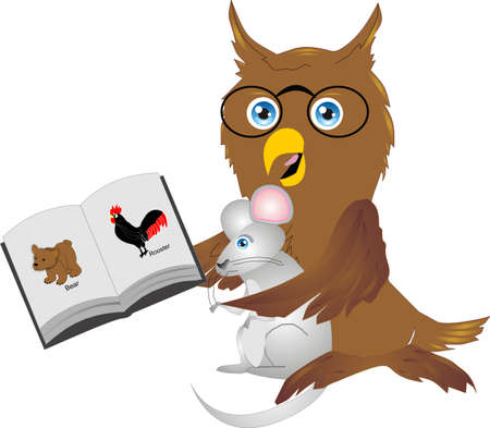 este: owl, bird, predator, carnivore, feathers, night, horned, glasses, reading, mouse, mole, food, rooster, cock, farm, animal, mammals, bear, cub, brown, book, pages, words, text, copyspace, copy, space, art, clipart, clip, wildlife, wild, life, school, study
