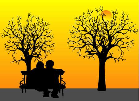 Amantes de pareja de ancianos sentados en el banco del parque, viendo la puesta del sol y recordar los viejos tiempos ... Como su mejor amigo es dejarlo antes, y él es el cuidado de su .. haciendo cuidados paliativos en el hogar, por su amante esposa, con respeto y honor .. Ilustración de vector
