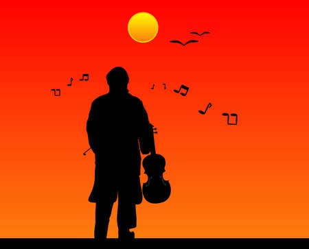 frets: Los sonidos de la m�sica llena el aire .. mientras juega y como se escucha .. al viol�n Vectores
