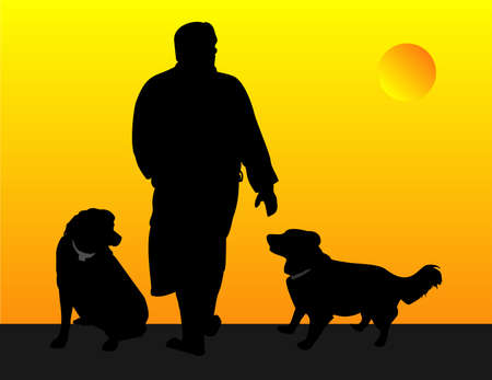 dog walking: Man and his dogs, out for a evening walk illustration
