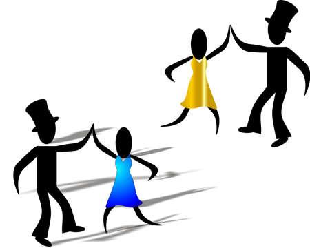 댄스 플로어에서 서로를 즐기는 두 사람, 그의 리더십 자질, 그가 그녀를 어떻게 이끌어 내는지 보여 주며 그녀를 위해 있습니다 ... 일러스트