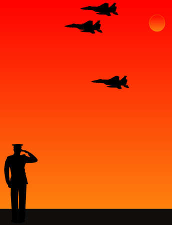 a fellow: As the sun sets, a lone, soldier salutes, as fellow airmen do a fly  by of the missing man formation for their fallen friend.